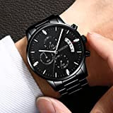 Mens Watches Sports Military Quartz Wristwatches Waterproof Chronograph Stainless Steel Band Black