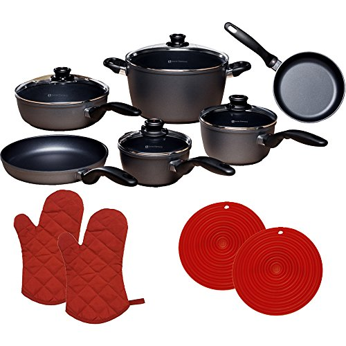 Swiss Diamond 10 Piece Set: Ultimate Kitchen Kit with 2 Red Oven Mitts + 2 Red Silicon Trivets