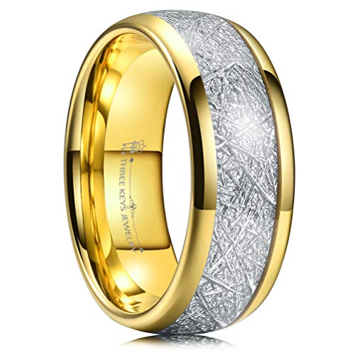 (Three Keys 8mm Tungsten Wedding Ring for Men Domed Imitated Meteorite Inlay Polished Gold Mens Meteorite Wedding Band Engagement Ring Promise Ring Size 8.5 )