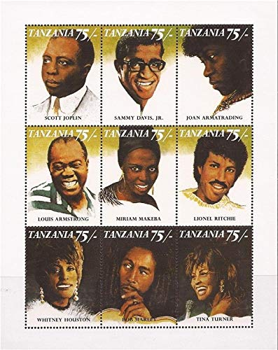 Famous Black Entertainers - Whitney Houston, Bob Marley, Louis Armstrong, Others - Limited Edition Collectors Stamps - Tanzania