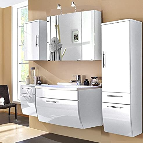 Badmöbel Set 5 Teilig ○ Hochglanz Weiß ○ Badezimmer Komplettset:  Spiegelschrank, Waschtisch Mit