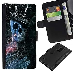 All Phone Most Case / Oferta Especial Cáscara Funda de cuero Monedero Cubierta de proteccion Caso / Wallet Case for LG G3 // King Skeleton