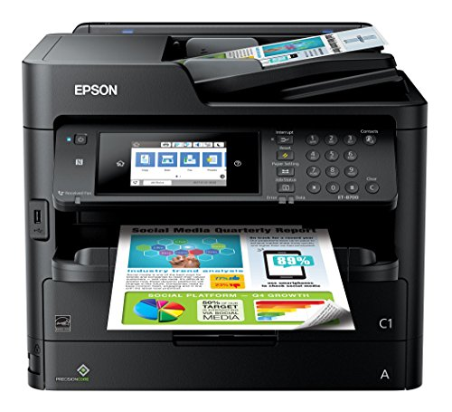 Epson Workforce Pro ET-8700 EcoTank Wireless Color All-in-One Supertank Printer with Scanner, Copier, Fax and Ethernet