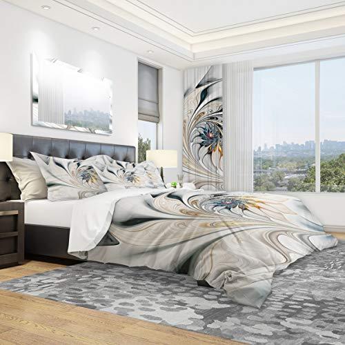 Designart White Stained Glass Floral Art-Modern & Contemporary Duvet Cover King Bedding Set, 2 Sham
