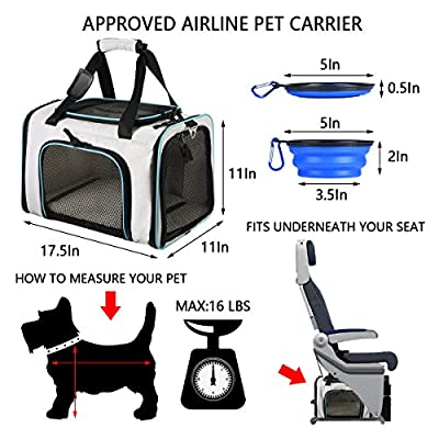 SHMEIQI Pet Carrier Backpack, Airline Approved Soft Sided Cats Dogs Carrier with Ventilated Design, Fleece Bedding, Locking Zippers & Metal Clasp - Perfect for Travel, Hiking & Outdoor Use by SHMEIQI