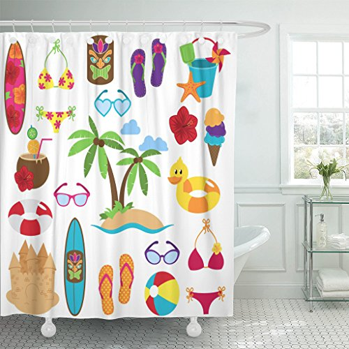 Emvency Shower Curtain Party Collection of Beach and Tropical Images Toy Hawaii Waterproof Polyester Fabric 72 x 72 inches Set with Hooks by Emvency