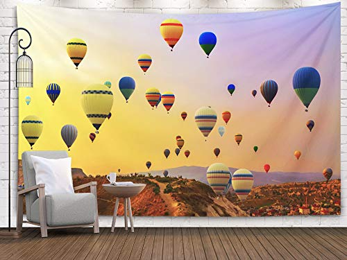 Tooperue Large Tapestry Wall Hanging, Dormitory Tapestry Room Decoration Outdoor 60X50 Inch hot Air Balloons Landing in Mountain National Park Turkey Art Tapestry Beach Blanket Camping Tapestry -