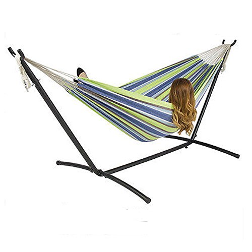 TimmyHouse Double Hammock With Stand Space Saving Steel and Portable Carrying Case (Hammock Stand Costco)
