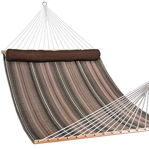 Lazy Daze Hammocks Quilted Fabric Double Size Spreader Bar Heavy Duty Stylish Hammock Swing with Pillow for Two Person, Brown and Green Stripe