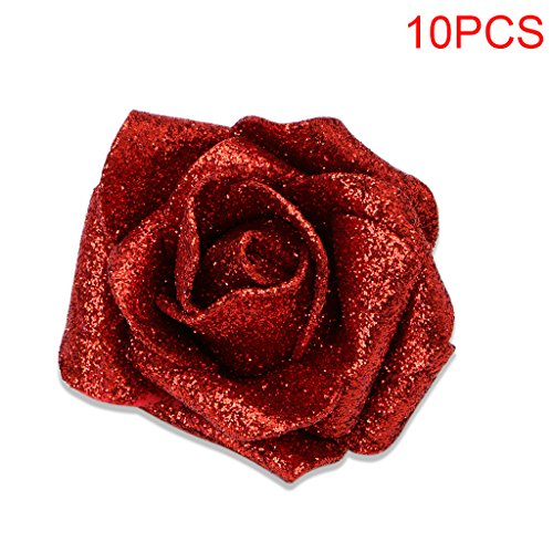 Kangnice 10 Foam Roses with Glitter Powder Flowers Bride Bouquet Home Party Wedding Decor (Red)