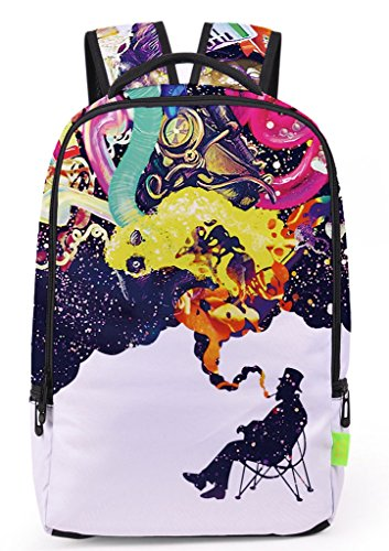 School Graphic (Pizoff Doulbe Mesh Padded Adjustable Shoulder Straps Cute Colorful Graphic Print Zipper School Bookbags Rucksack Travel Laptop Backpacks Boys Girls Y1799-46)