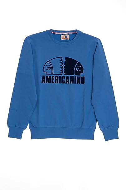 aspetto dettagliato 4f7c5 5f5b4 AMERICANINO Felpa Girocollo Bambino Azzurra: Amazon.it ...