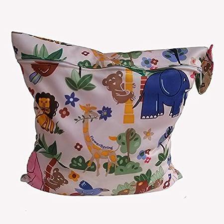 Toruiwa Sac /à Couches Lavables Sac /à Maillot de Bain R/éutilisable avec Fermeture Zipper avec Animaux Motif 31 x 28 cm 12,2 x 11 Pouces