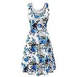 Appliances : HHei_K Womens Summer Casual Boho Floral Print Sleeveless O-Neck Fit and Flare Mini Dress Tank Dress