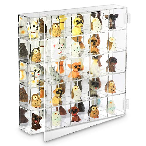 "Ikee Design Mountable 25 Compartments Display Case Cabinet Stand with Mirrored Back - Display Shelves for Collectibles, 10 1/2""W x 2""D x 10 1/2""H"