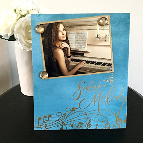 "Sweet Melody music blue gold jeweled gift handmade magnetic picture frame holds 5"" x 7"" photo 9"" x 11"" size"