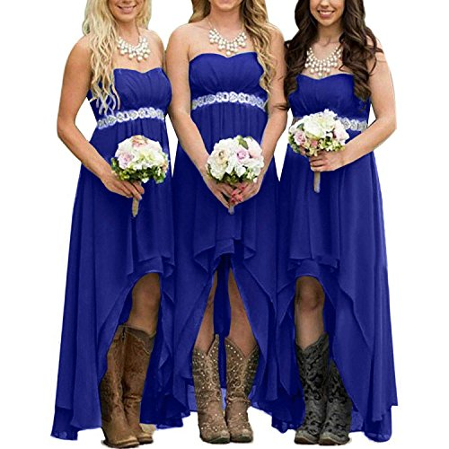 (EUMI Chiffon Bridesmaid Dresses High Low Strapless Country Bridal Wedding Party Gowns, Royal Blue 14)