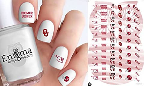 Oklahoma Sooners Clear Water-slide Nail Decals (Set of 71) - Boomer Football