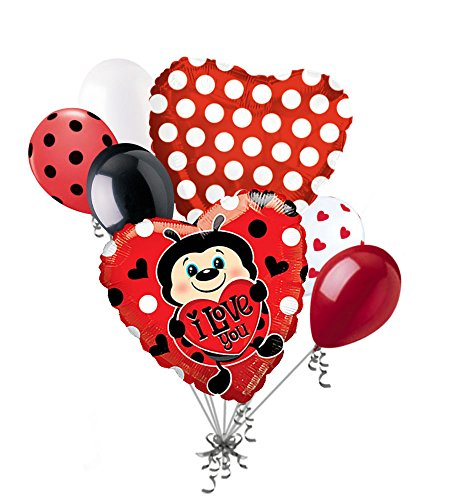 Jeckaroonie Balloons 7pc I Love You Lady Bug Heart Happy Valentines Day Balloon Bouquet Mine Hug Kiss - Bug Ladybug Heart Love