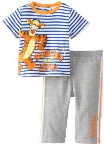 Disney Baby Boys'  Tigger 2 Piece French Terry Pant Set, Grey/Orange, 3-6 Months