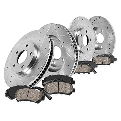 Callahan CDS03138 FRONT 345mm + REAR 331.5mm D/S 5 Lug [4] Rotors + Cer Brake Pads + Sensors [Mercedes Benz ML430 ML500] ()