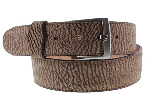 - Cowboy Professional - Men's Brown Shark Print Leather Cowboy Belt Silver Buckle 48