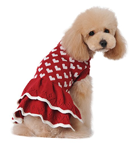 MaruPet Fashion Sweety Puppy Dog Ribbed Knit Sweater Knitwear Round Neck Hearts Printed Classical Twist Doggie Tutu Dress One-Piece for Small to Medium Dog and Cat Red XL