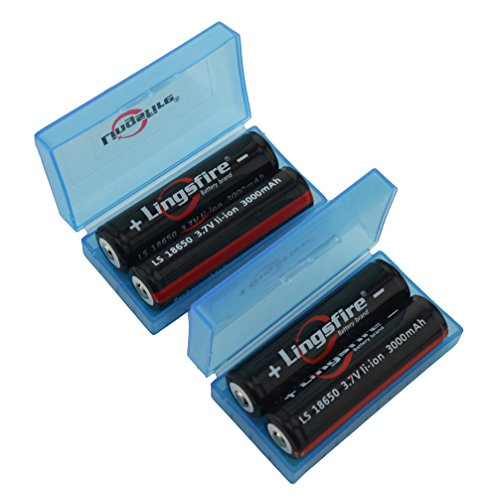 """LingsFire® 4 Pack Black 18650 3000mah 3.7V Rechargeable lithium Battery With 2PCS Plastic 18650 Battery Storage Case Box Organizer """" (Battery + Blue Case)"""