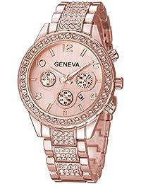 Luxury Unisex Crystal Diamond Watches Quartz Digital Calendar Rose Gold Silver Stainless Steel Watch (Rose
