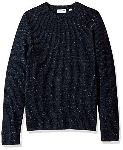 Lacoste Men's Crewneck Gaufre Wool Sweater Tone Croc, Navy Blue XXX-Large