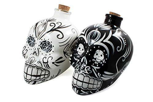Bar Amigos Double Pack Black & White - Mexican Painted Candy Skulls Sugar Art Shaped Themed Glass Top Decanter & Cork Stopper Can Be Used For Wines And Spirits And ()