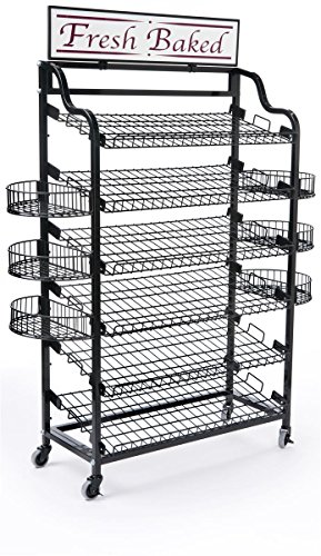 Wire Bakers Rack with 6 Tilting Wire Shelves and 6 Half-circle Side Trays, Wire Storage Rack Includes  inchFresh Baked inch Sign and 2 Sign Holders (Black)