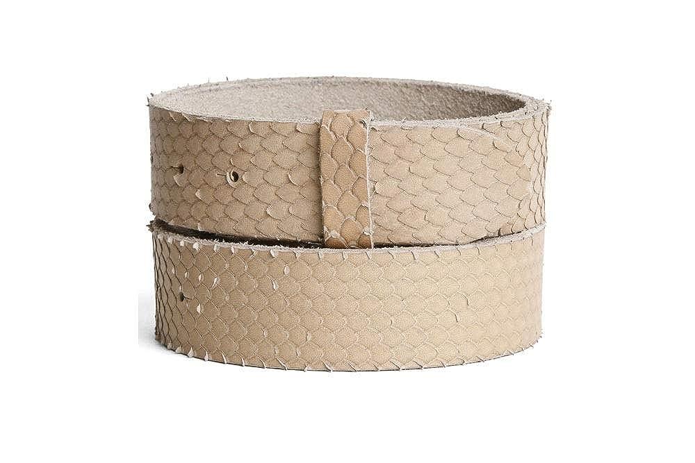 VaModa Belt, Cinturón en piel, modelo Bamboo, color beige, sin hebilla