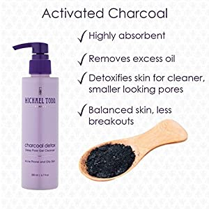 Michael Todd Charcoal Detox Deep Pore Gel Cleanser, Activated Charcoal Clarifying Face Wash for Oily Skin, 6.7 Ounce Pump Bottle