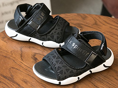 VECJUNIA Boy's Girl's Outdoor Sandals Open Toe Non-Slip Beach Athletic Sandals (Black, 4 M US Big Kid) by VECJUNIA (Image #3)