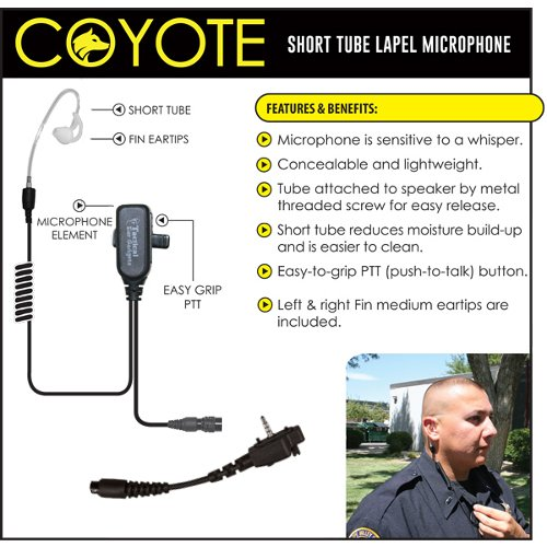 Earphone Connection COYOTE QR Lapel Mic Headset for Vertex VX Series (See List) by Tactical Ear Gadgets