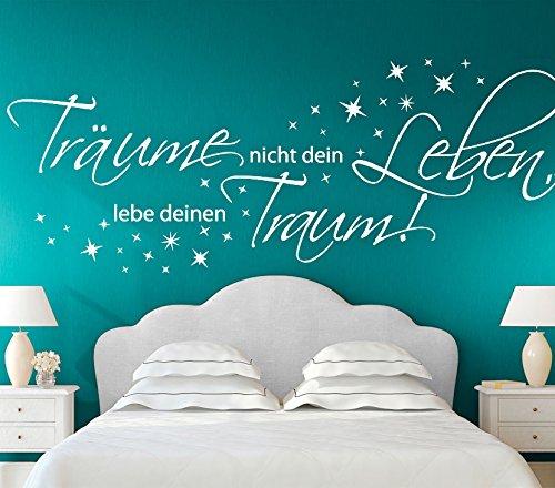 Wandtattoo-Günstig G026 Zitat Träume nicht dein Leben, lebe deinen Traum Wandaufkleber Wandsticker Schlafzimmer violett (BxH) 150 x 58 cm