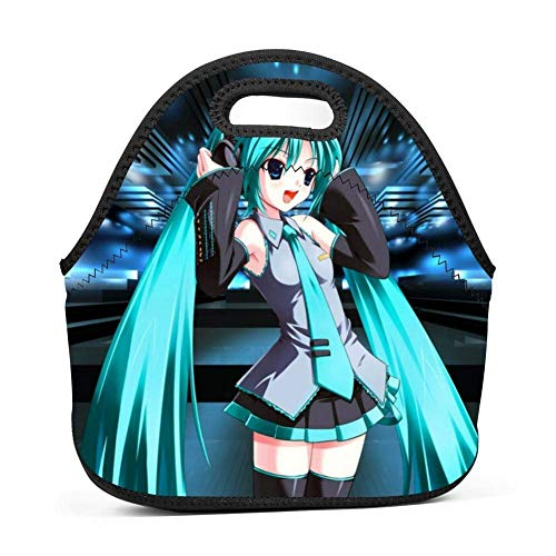 dingqiqi Hatsune Concert Miku Adults/Men/Women/Kids Bento Box Reusable Lunch Bag Trip School Work Lunchbox Multifunction Handbag