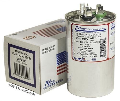 45 + 5 uf / Mfd Round Dual Universal Capacitor • AmRad USA2236 - used for 370 or 440 VAC , Made in the U.S.A. by AMRAD