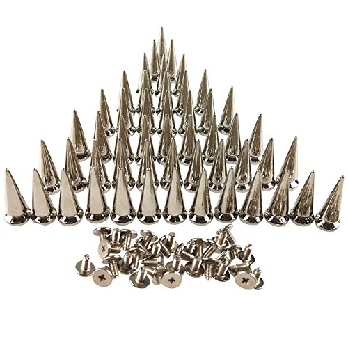 (50PCS Silvery Cone Spikes Metallic Screw Back Studs DIY Craft Cool Rivets Punk 10 X 25mm by CSPRING)
