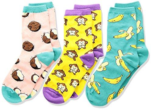 Sock Monkey Girl - Socksmith Kids Novelty Crew Socks 3-pack