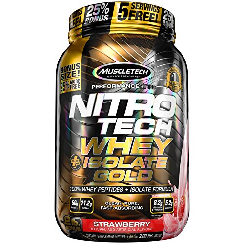 MuscleTech Nitro-Tech Whey Plus Isolate Gold, Strawberry Shortcake, 2 Pound