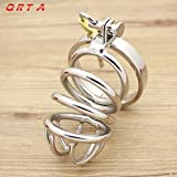 MISSLOVER Male Chastity Device Stainless Steel Cock Short Cage Men's Virginity Lock, Small Chastity Belt Adult Game Sex Toys 1pcs