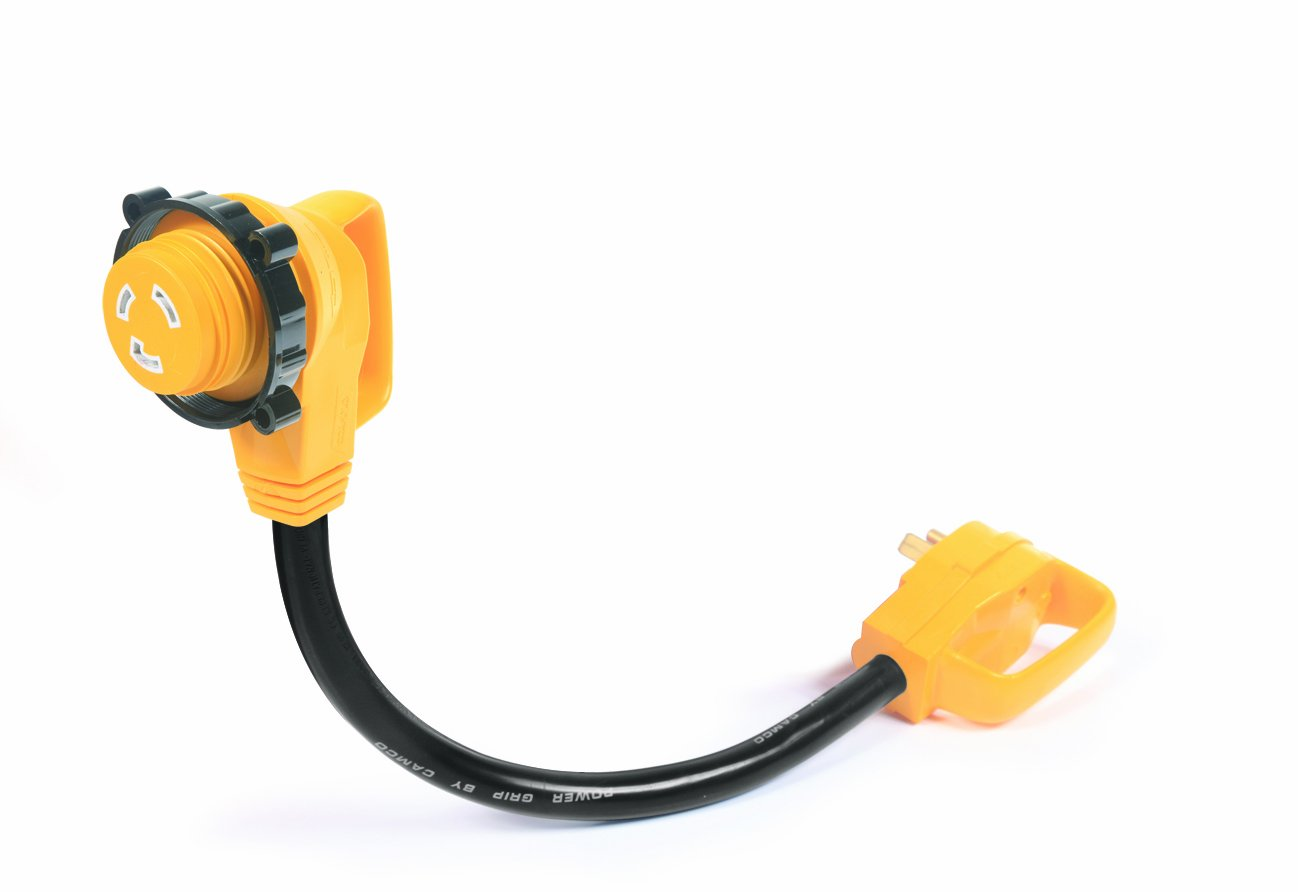 Best Rated In Outdoor Generator Cords Sets Plugs Helpful Besides How To Wire Breaker Box Also 240 Vac Plug Wiring Camco 55522 18 30 Amp Standard Male 90 Degree Locking Female Powergrip Adapter