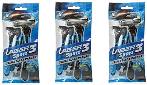 Laser Sport 3 Triple Blade Disposable Razor 5 Pc (Pack of 3) Men's Manual Razors at amazon