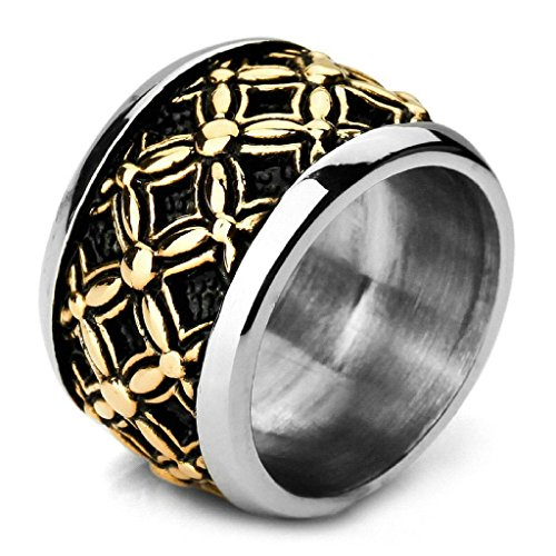 Aooaz Stainless Steel Rings For Men Silver Gold Coin Bands Gothic Rings Size 10 Vintage Free Engraving
