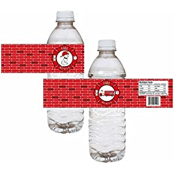 Firefighter Party Water Bottle Labels With Dalmatian and Fire Truck - Kid Drink Stickers - Set of 12