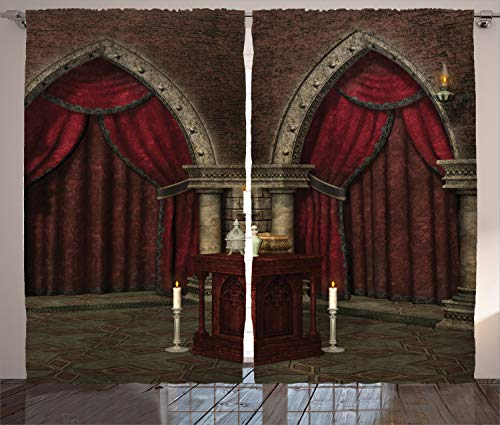Ambesonne Gothic Curtains, Mysterious Dark Room in Castle Pillars Candles Atmosphere Pattern, Living Room Bedroom Window Drapes 2 Panel Set, 108 W X 90 L Inches, Black Red