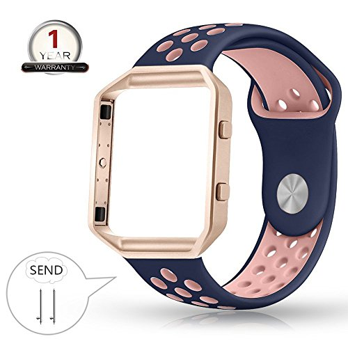 Youkex for Fitbit Blaze Bands Silicone with Frame,Small Breathable Sport Replacement Strap with Rose Gold Metal Case for Smart Fitness Watch Women Men (Blue/Pink+Rose ,Small Size) by YOUKEX
