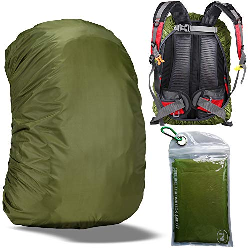 Gryps Waterproof Backpack Rain Cover with Adjustable Anti Slip Buckle Strap & Sliver Coating Reinforced Inner Layer for Camping, Hiking, Traveling, Hunting, Biking and More, 60-70L(Green)